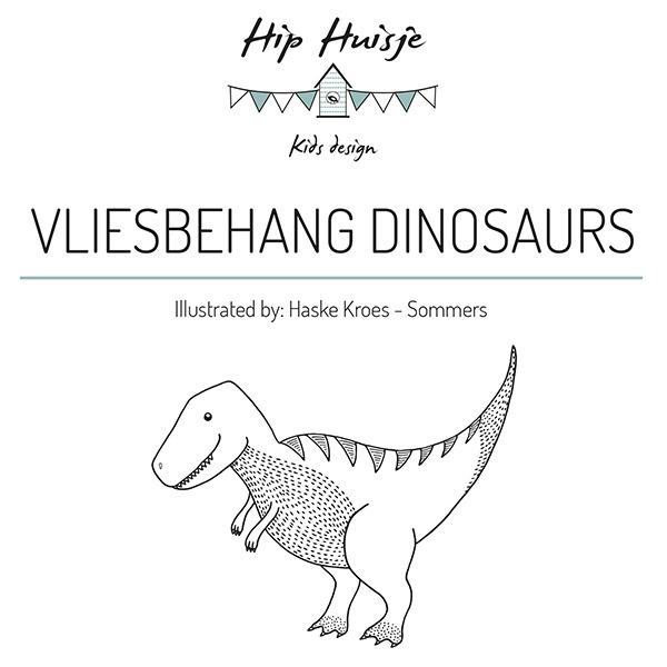 Dinosaurus behang zwart wit Haske Kroes -Sommers