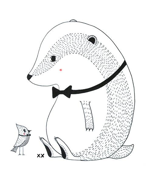 dasje - illustratie - zwart wit - tekening