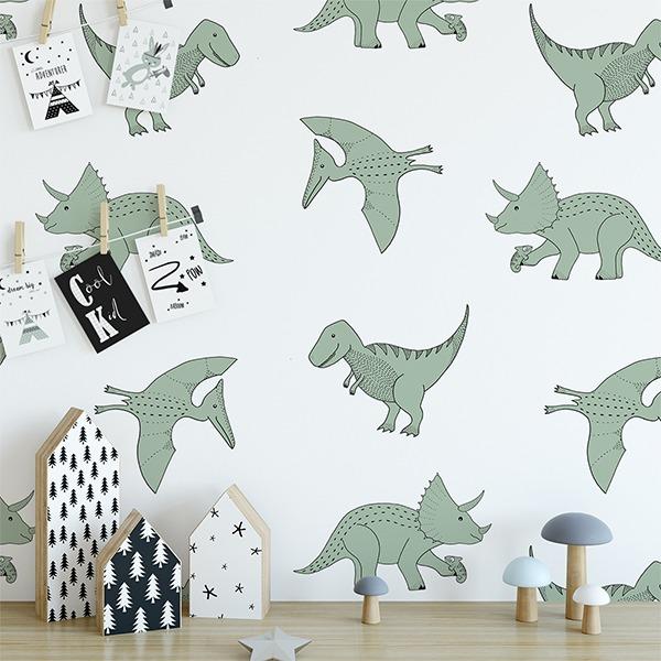 dino behang mos groen dinosaurussen jongenskamer