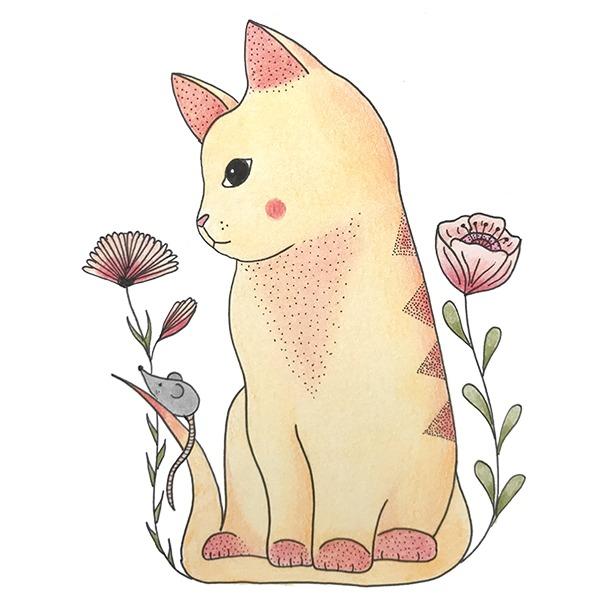 gele kat tussen bloemen - muisje - poes - illustratie - Haske