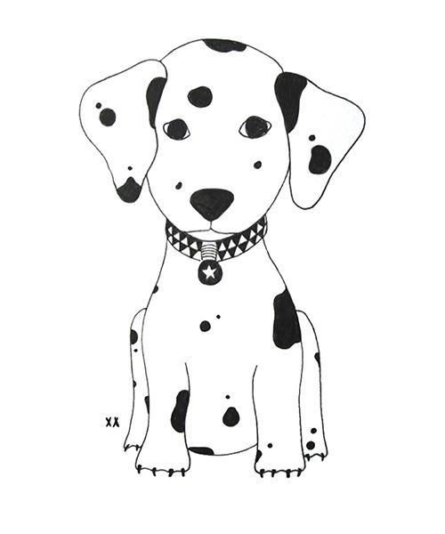 tekening - illustratie - hond - dalmatiër - kinderillustratie
