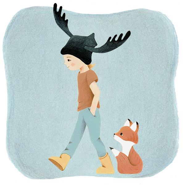 jongen met vosje en eland muts - illustratie - Haske Kroes-Sommers