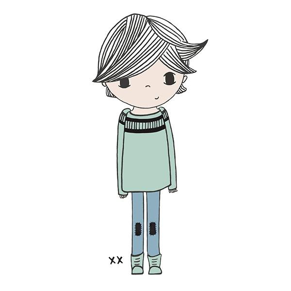 relaxed jongetje - illustratie - tekening - groen - blauw