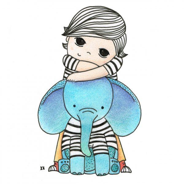 jongen met blauwe olifant - illustratie