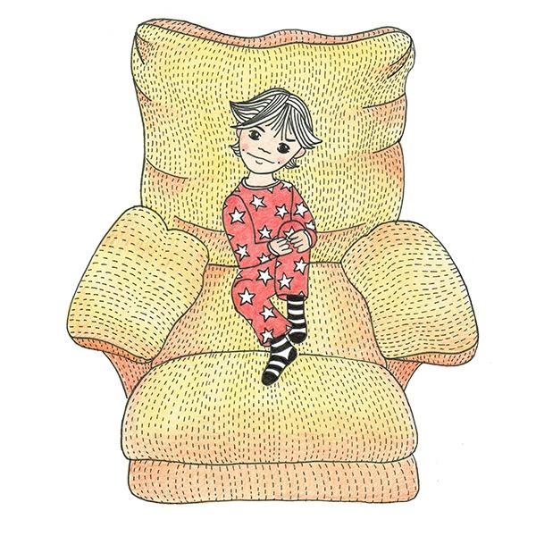 jongen in stoel - tekening - rood - geel