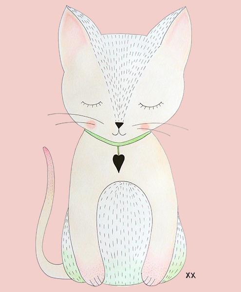 illustratie poes - lief - meisje - roze