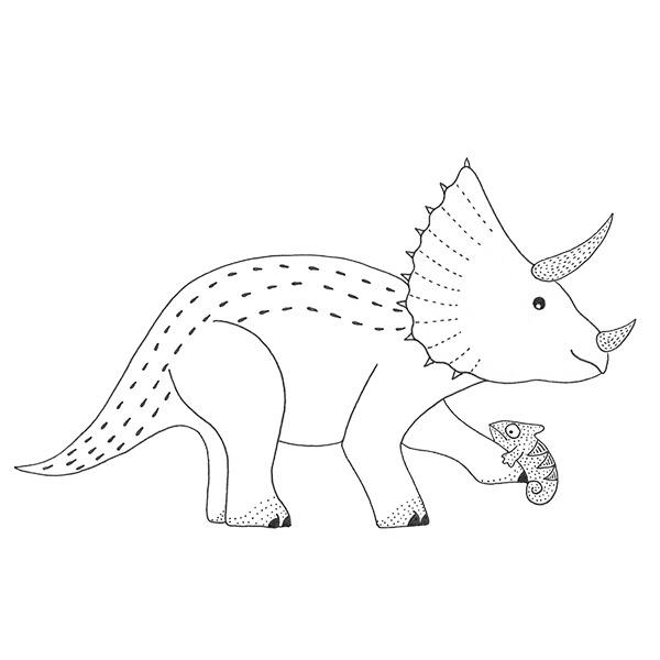 kraag dinosaurus triceratops - kameleon - zwart wit - behang