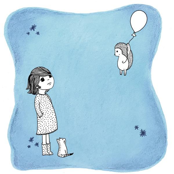 Meisje met poes kijkend naar ballon - tekening - illustratie Haske Kroes-Sommers