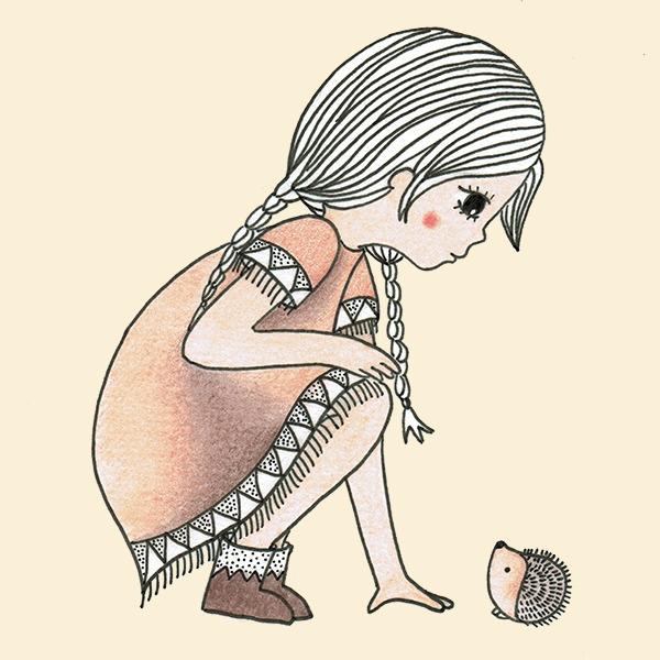 indianen meisje met egeltje - tekening - Haske Kroes- Sommers illustrator