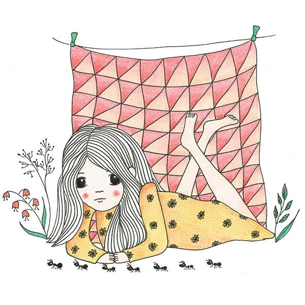 illustrator-gezocht: illustratie meisje kijkend naar mieren - tekening Haske Kroes - Sommers