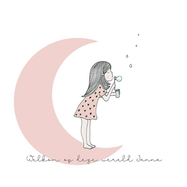 geboortekaartjes - illustratie - maan - meisje bellen blazend - oud roze