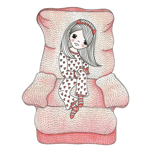 meisje in Pyjama op stoel - rood - illustratie Haske Kroes