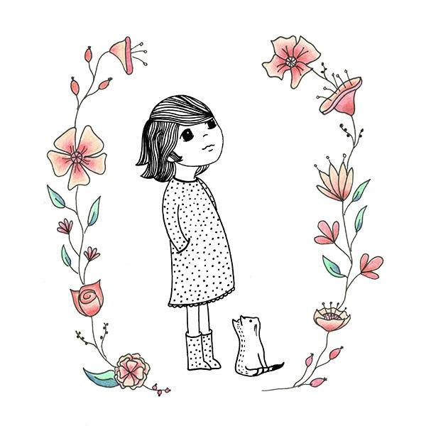 starend meisje illustratie tekening bloemen zwart wit