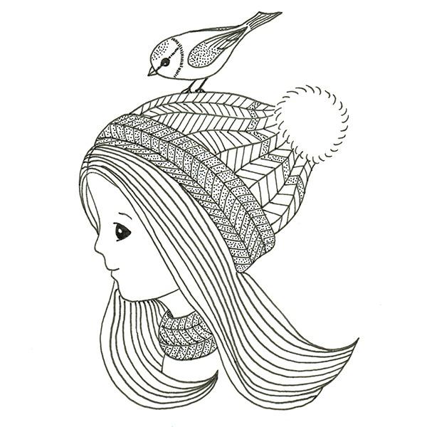 winter meisje met muts - illustratie - zwart wit - vogeltje
