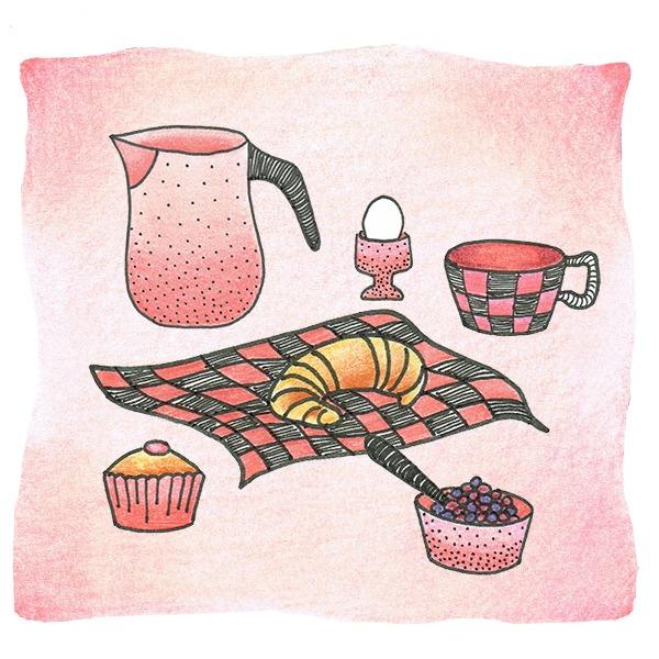 ontbijten op een kleedje - illustratie - tekening - Haske Kroes - Sommers