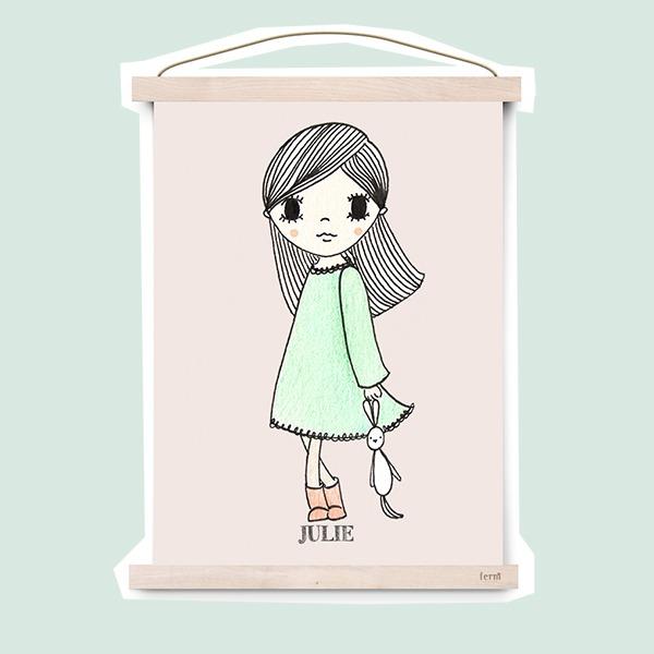 meisje met knuffel konijntje - poster - kinderkamervintage