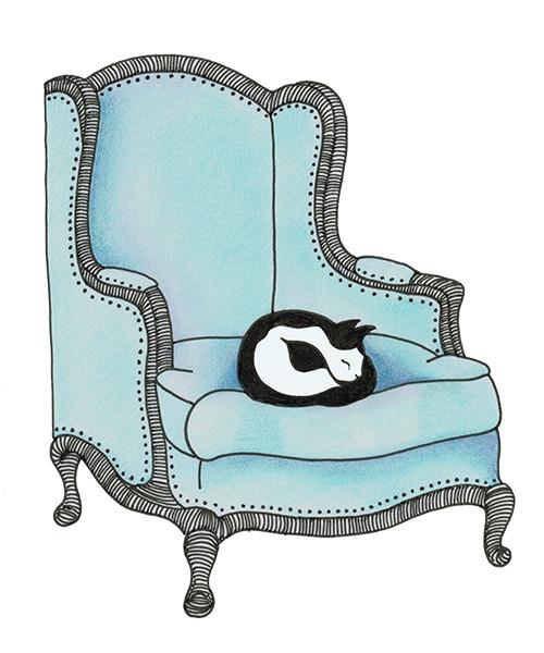 blauwe oude stoel met poes - illustratie - tekening Haske