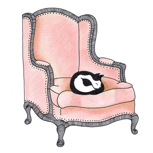 roze vintage stoel - poes op stoel - illustratie - Haske Kroes-Sommers