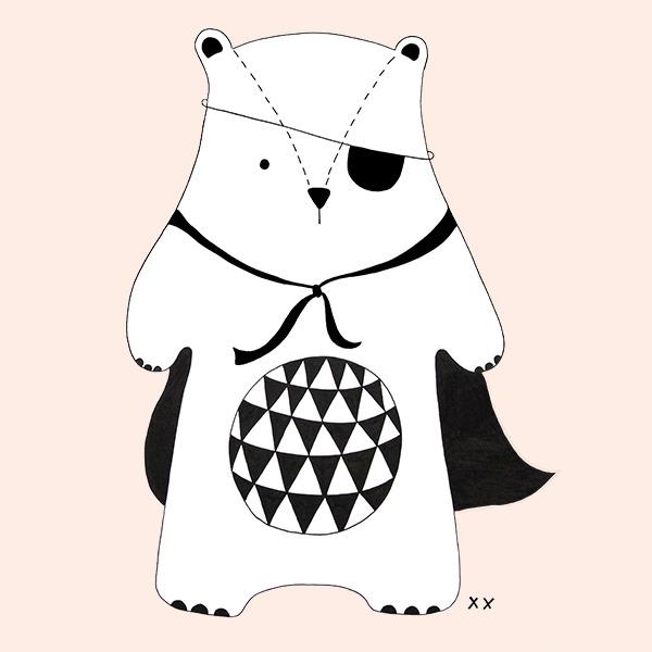 stoere beer met cape - illustratie - tekening - zwart wit