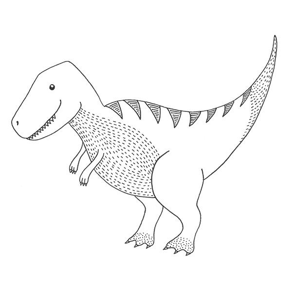 t-rex dinosaurus zwart wit behang kinderkamervintage en hiphuisje