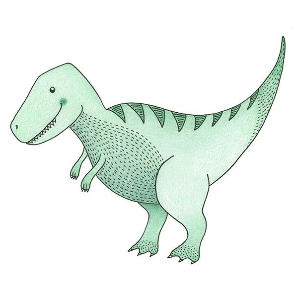 dino t-rex behang dinosaurussen zwart wit en groen