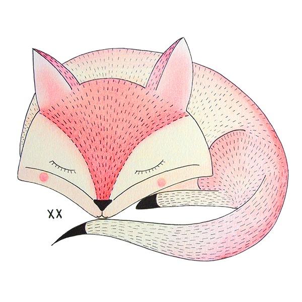 roze vosje slapend - illustratie - Haske Kroes Sommers