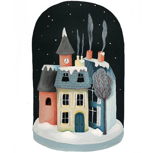 winter huisjes illustratie - Haske Kroes - Sommers