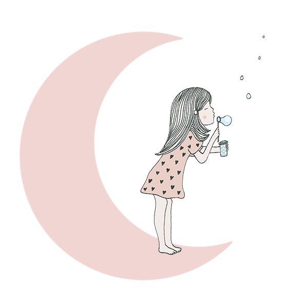 meisje op de maan | Haske - illustraties