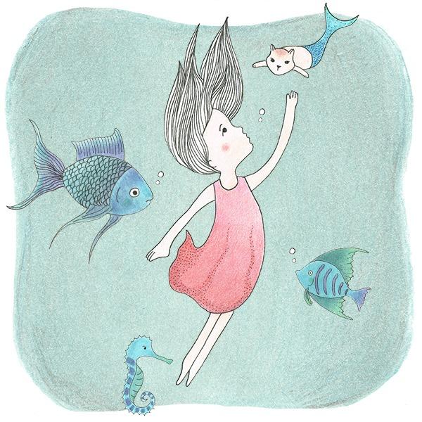 illustratie - onder water wereld - Haske Kroes - Sommers - meisje