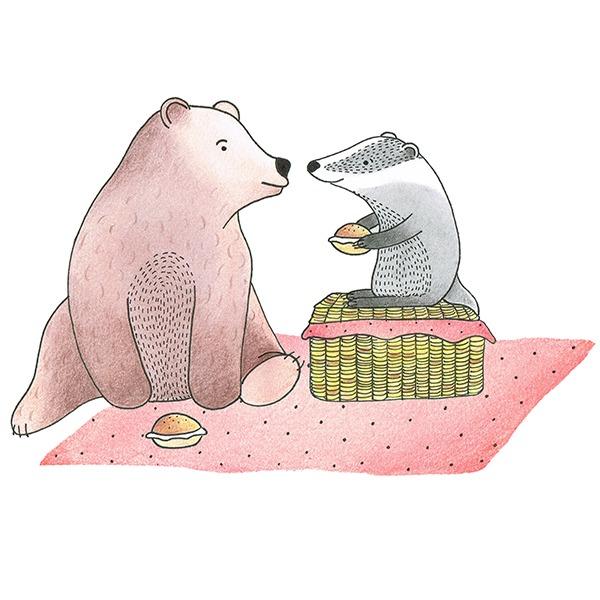 picknick beer en das illustratie