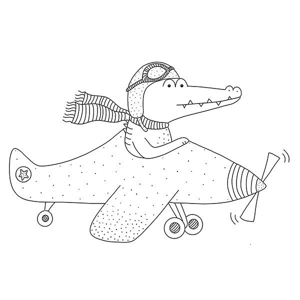 krokodil in vliegtuig - zwart wit
