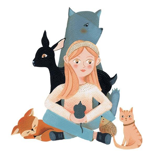 meisje met dieren illustratie