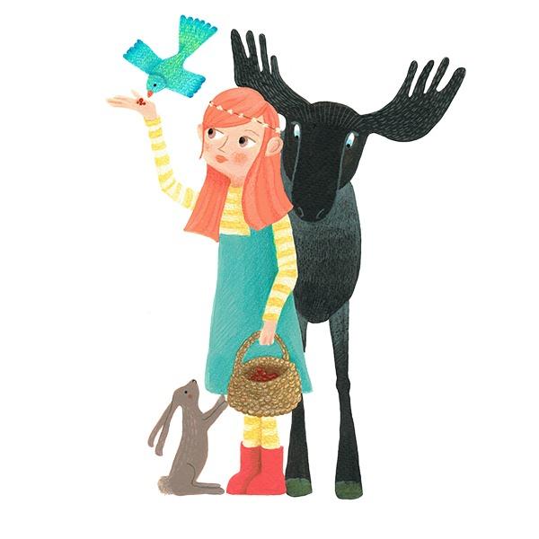 meisje met vogel en eland - illustratie