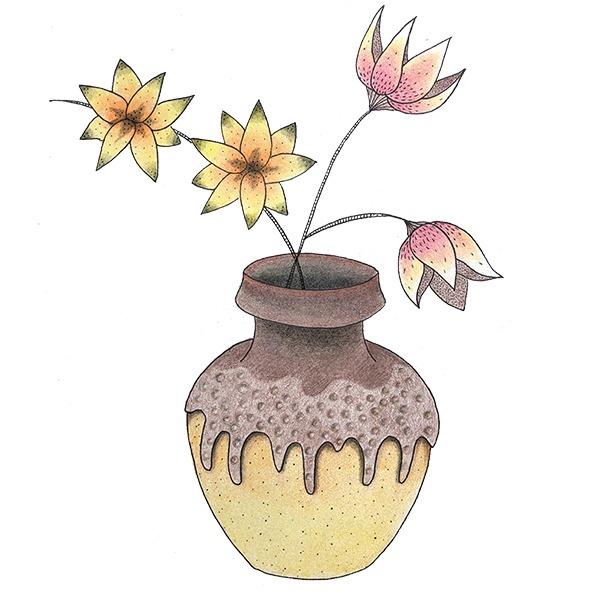 vintage vaas met bloemen tekening