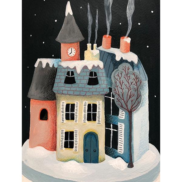 huisjes winter illustratie