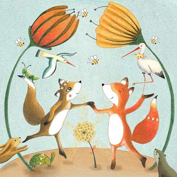vosje in het honingbos - vosjes bloemen feest getekend