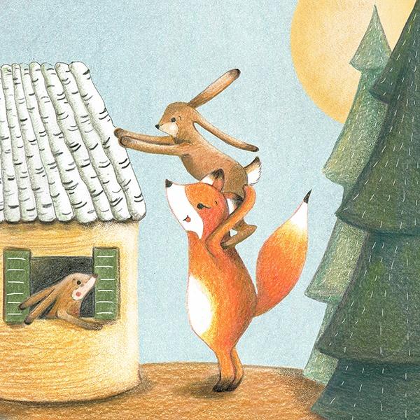 bouwen huisje vos en konijn getekend - vosje in het honingbos
